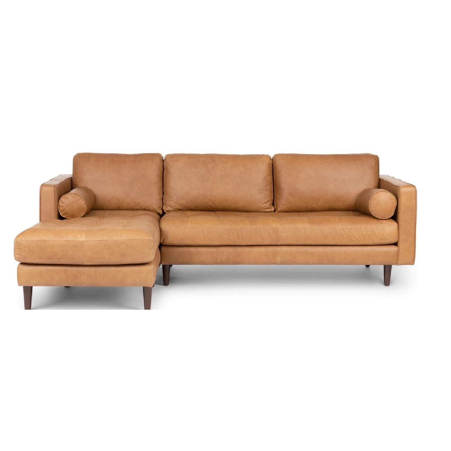 Article Sven Charme Tan Left Sectional Mid Century Sofa
