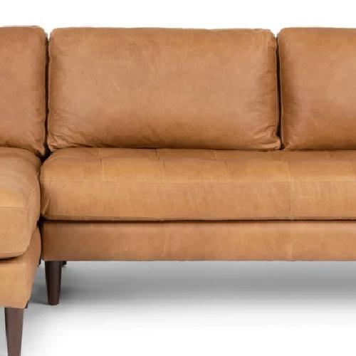 Used Article Sven Charme Tan Left Sectional Mid Century Sofa for sale on AptDeco