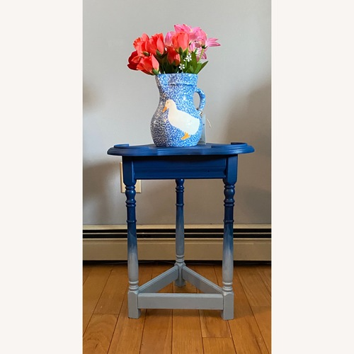 Used Blue Ombr Small Table/Plant Stand for sale on AptDeco