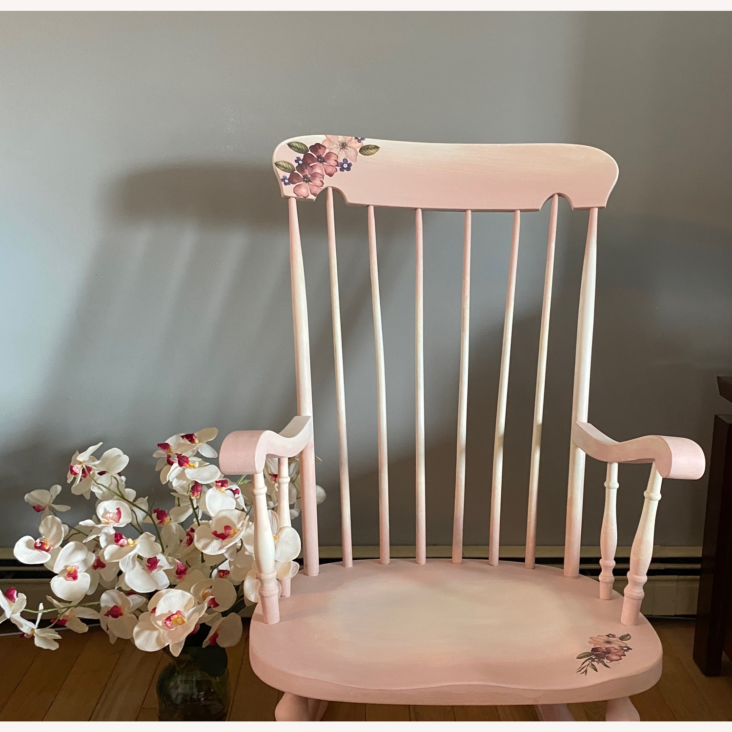Pink and White Rocking Chair