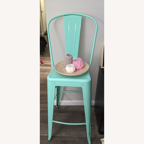 Used High Mint Green Metal Indoor-Outdoor Barstool for sale on AptDeco