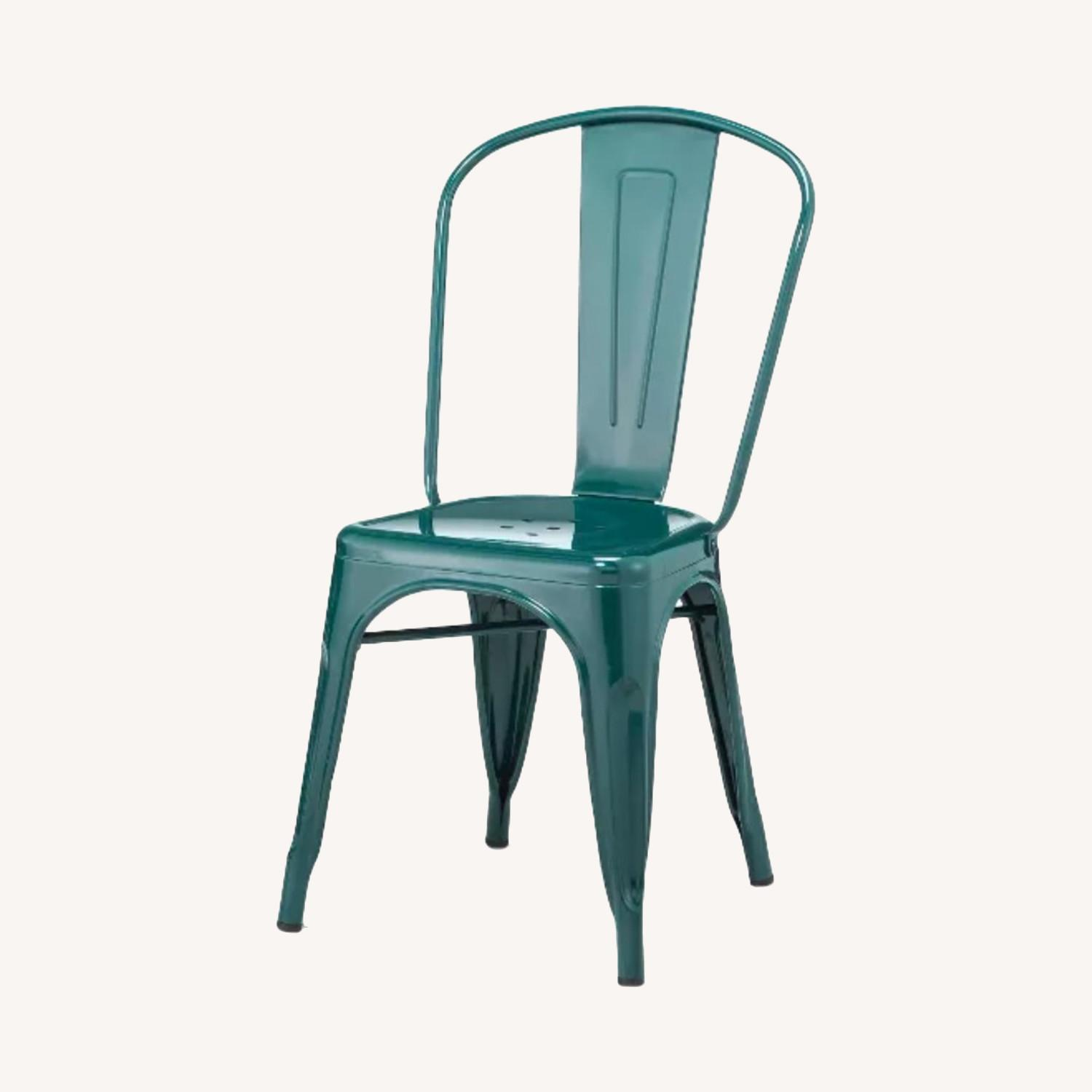 Teal Blue Metal Dining Chairs