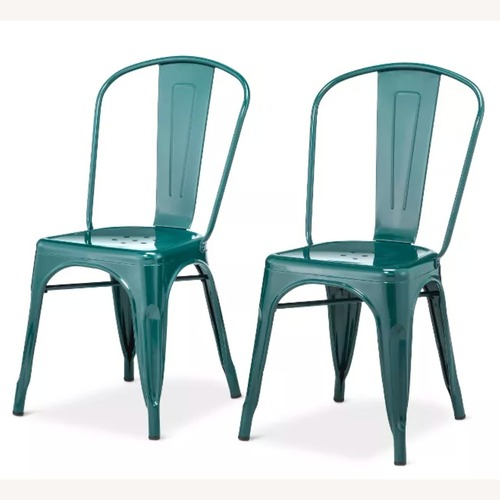 Used Teal Blue Metal Dining Chairs for sale on AptDeco