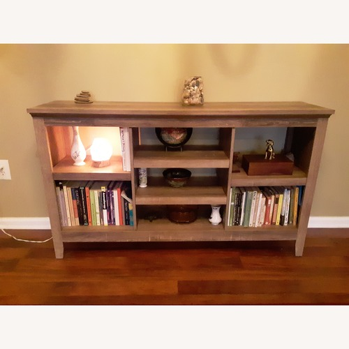 Used Gray Bookcase with Barnwood pattern for sale on AptDeco