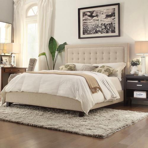Used Kingstown Home Beige Upholstered Standard Bed for sale on AptDeco