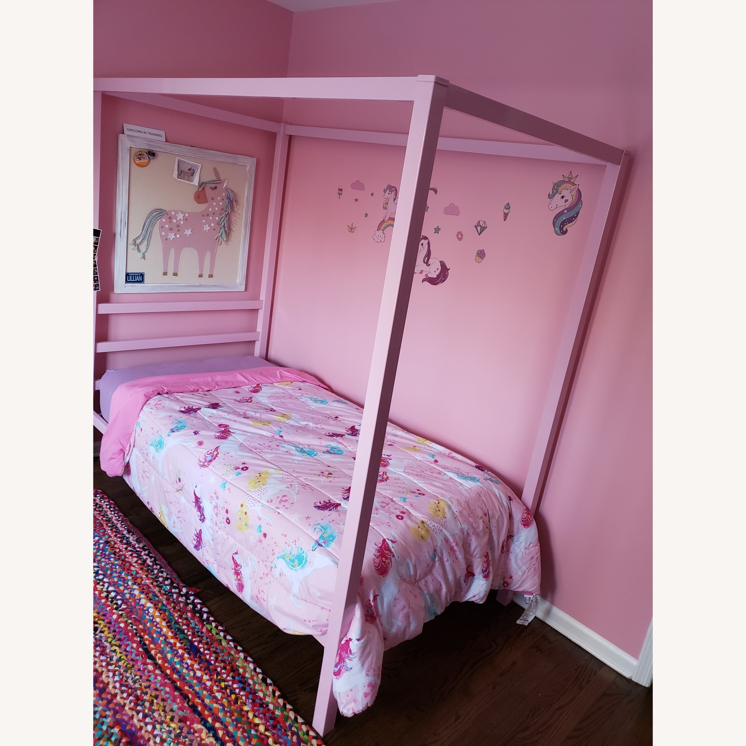 Mack and Milo Pink Canopy Twin Bed Frame