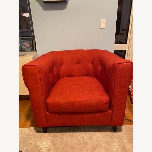 Used West Elm Red Fabric Armchair for sale on AptDeco