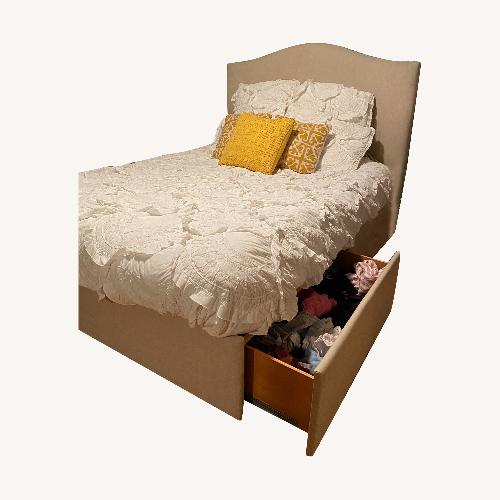 Used Pottery Barn Raleigh Upholstered Tall Curved Headboard for sale on AptDeco