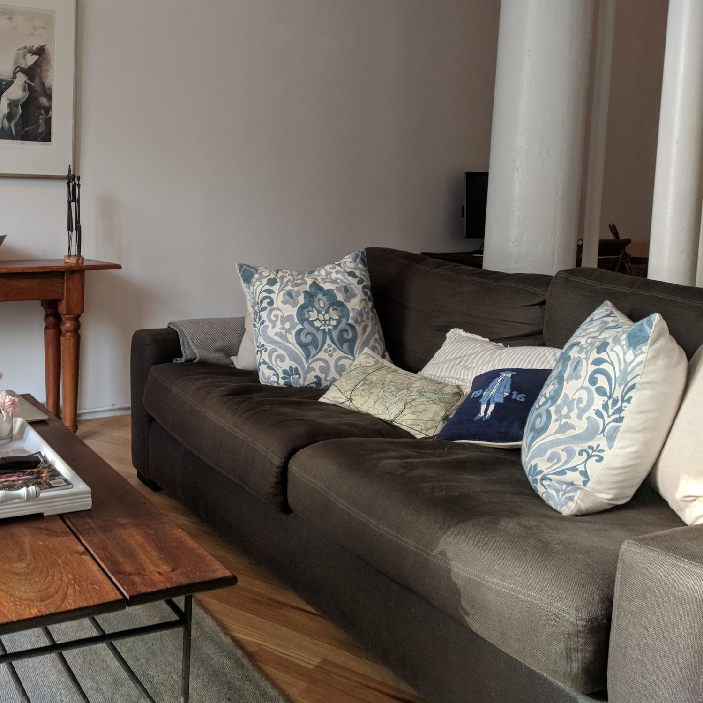 Restoration Hardware Maxwell Charcoal Belgian Linen Sofa - image-2