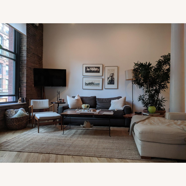 Restoration Hardware Maxwell Charcoal Belgian Linen Sofa - image-4