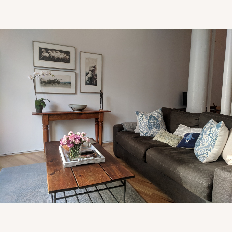Restoration Hardware Maxwell Charcoal Belgian Linen Sofa - image-5