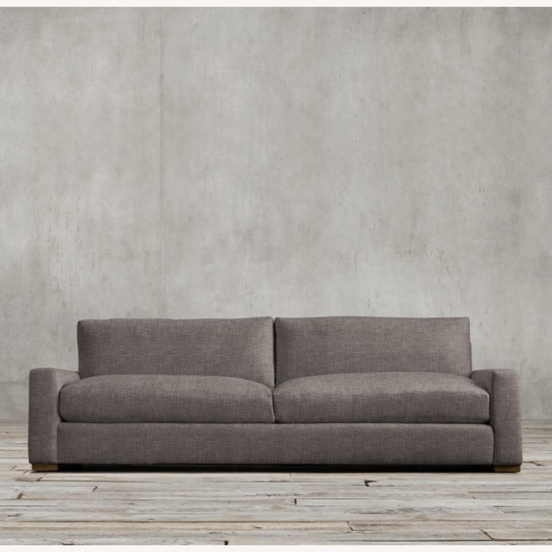Restoration Hardware Maxwell Charcoal Belgian Linen Sofa - image-3