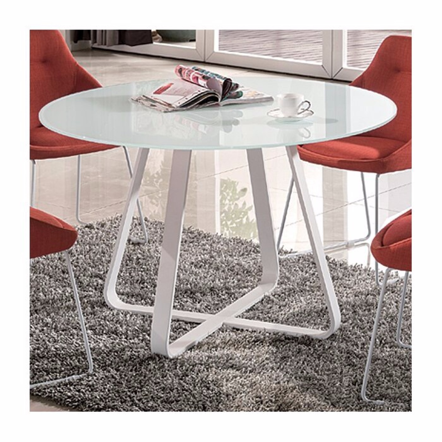 George Oliver white Round Glass and Metal Table