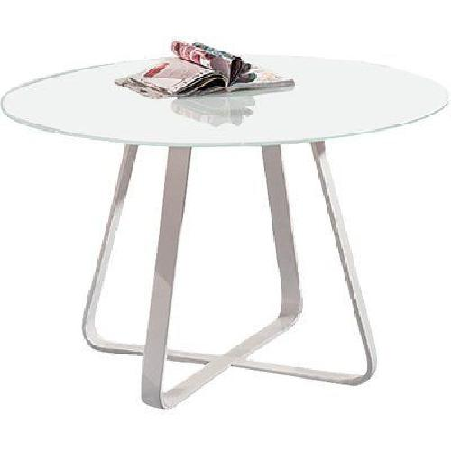 Used George Oliver white Round Glass and Metal Table for sale on AptDeco