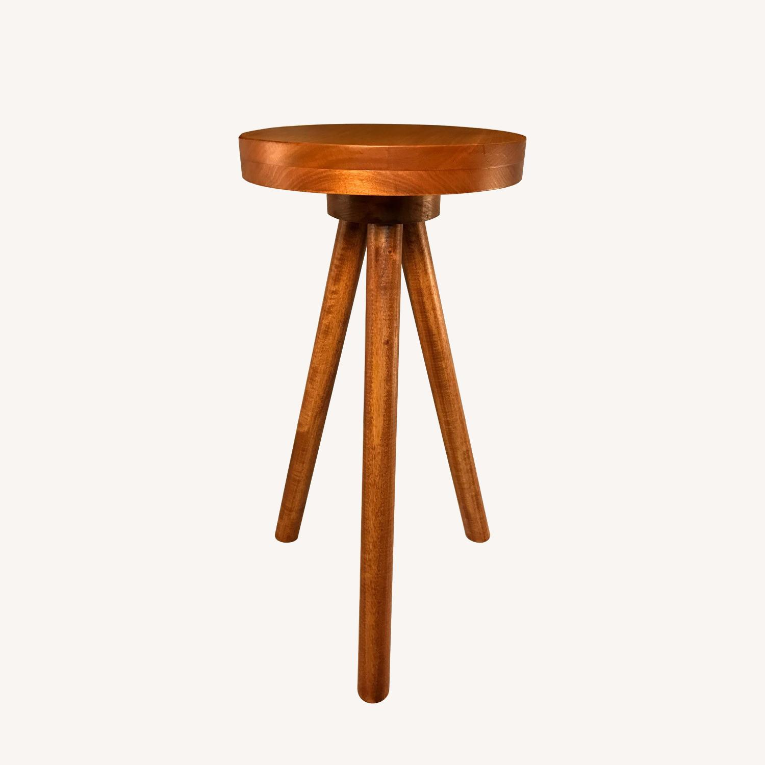 Modern Wood Round Side Table Pedestal Plant Stand