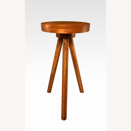 Used Modern Wood Round Side Table Pedestal Plant Stand for sale on AptDeco