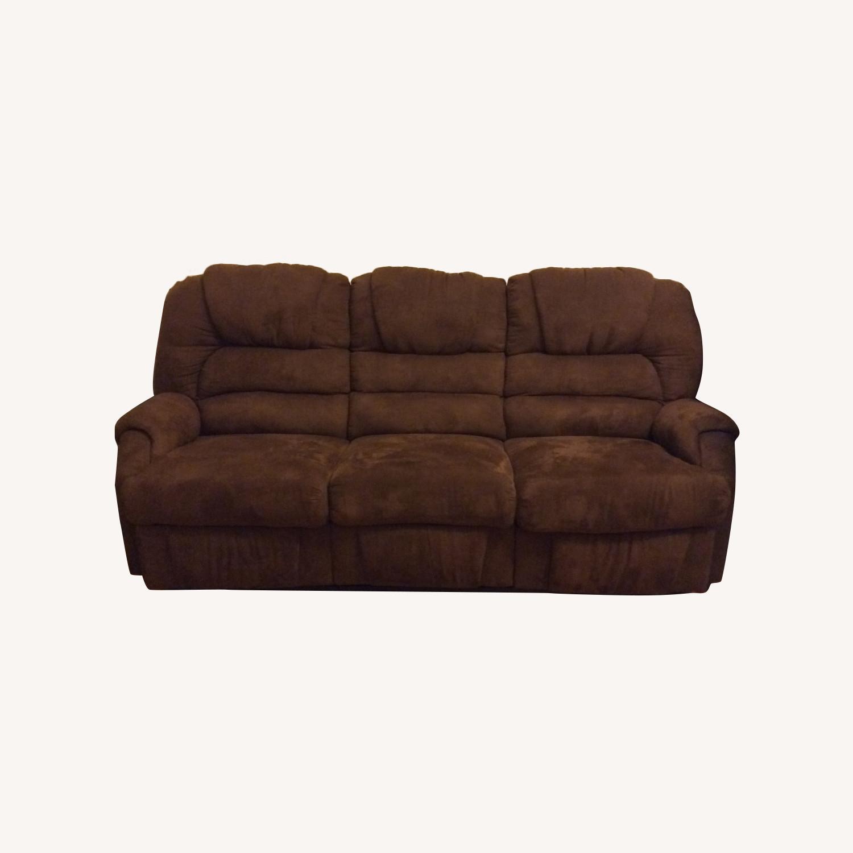 Brown Microfiber Recliner Sofa - image-0