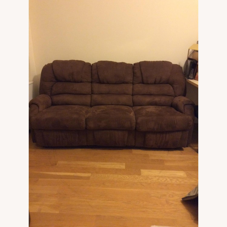 Brown Microfiber Recliner Sofa - image-2