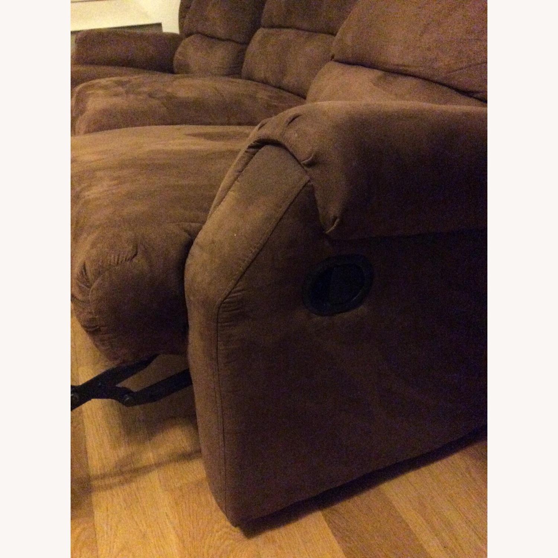 Brown Microfiber Recliner Sofa - image-3