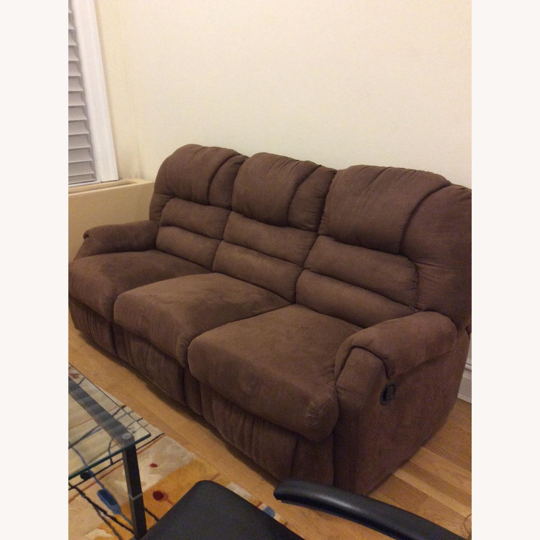 Brown Microfiber Recliner Sofa - image-5
