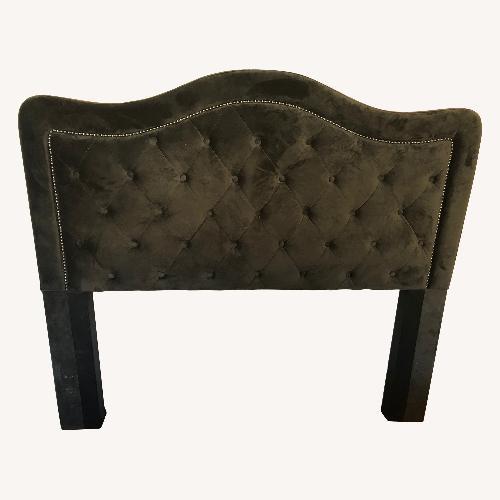Used Bob's Discount Furniture Tufted Suede Nailhead Headboard for sale on AptDeco