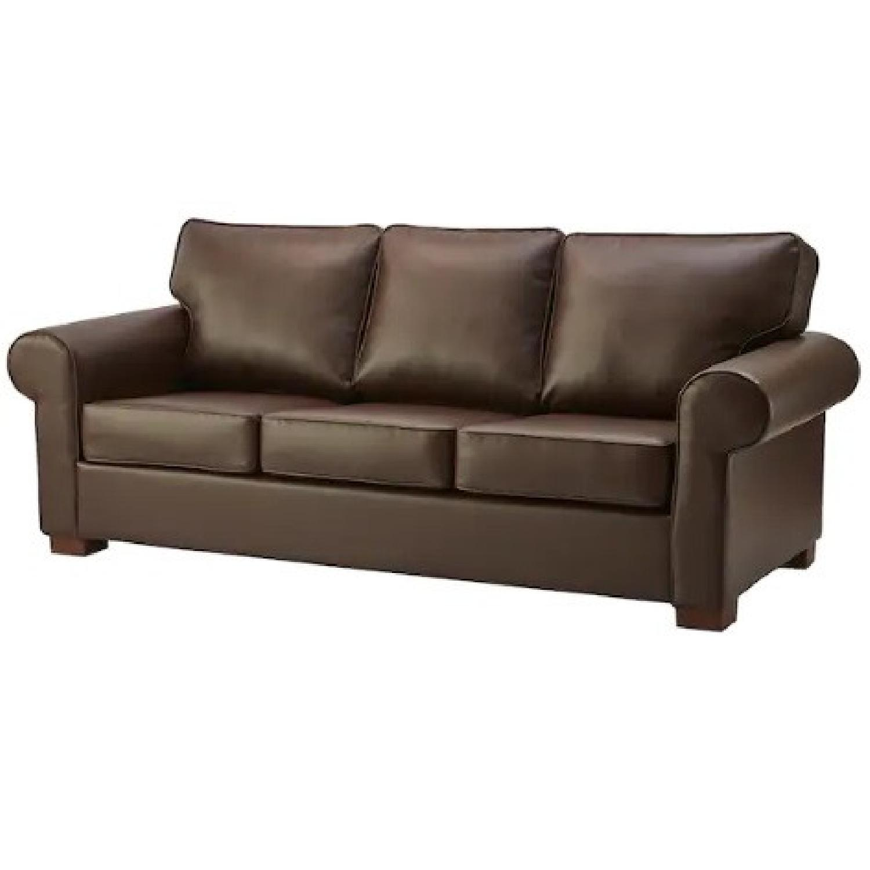 IKEA Brown Leather Ektorp Sofa - image-0