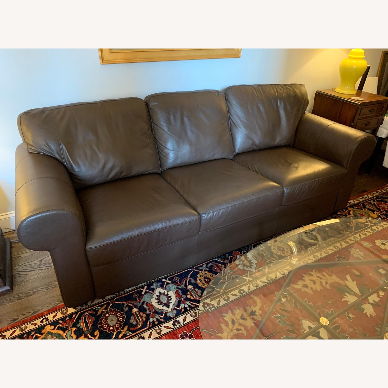 IKEA Brown Leather Ektorp Sofa - image-1