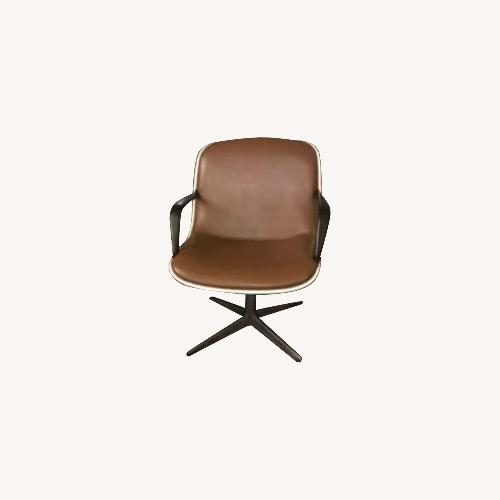 Used Vintage Charles Pollock Chairs - Brown Leather for sale on AptDeco