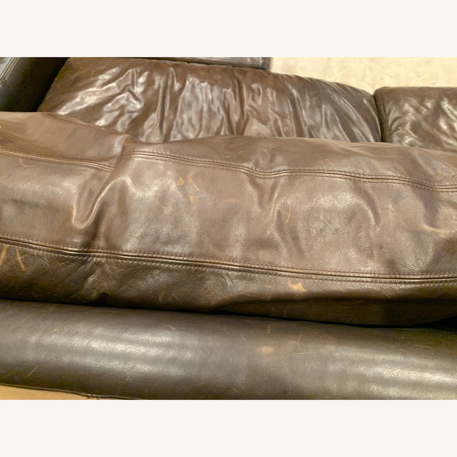 Restoration Hardware Maxwell Brown Leather Sofa + Ottoman - image-9