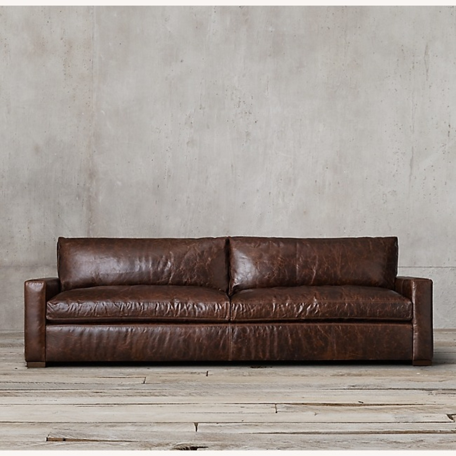 Restoration Hardware Maxwell Brown Leather Sofa + Ottoman - image-1