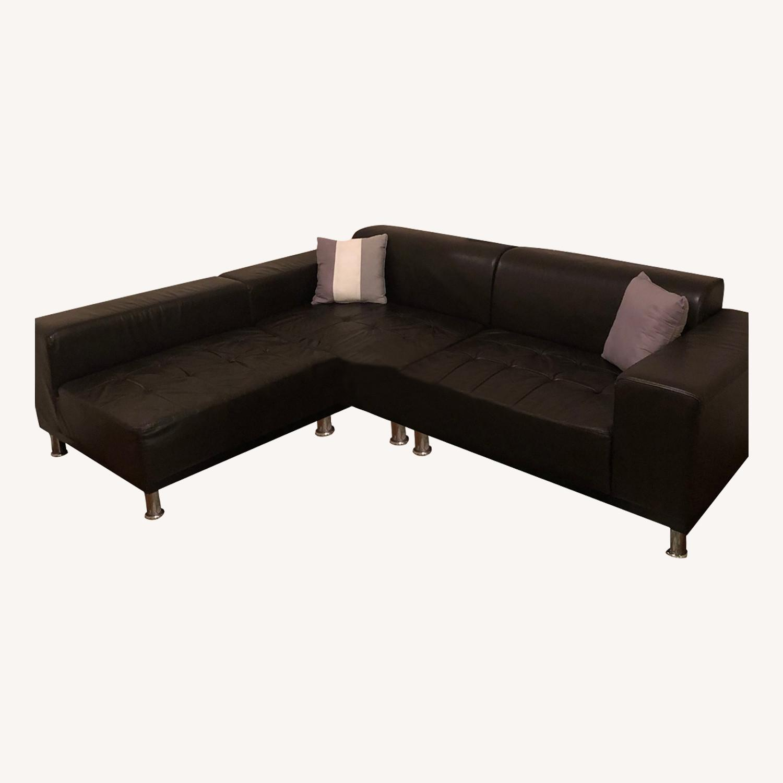 Modani Black Leather Sectional Sofa