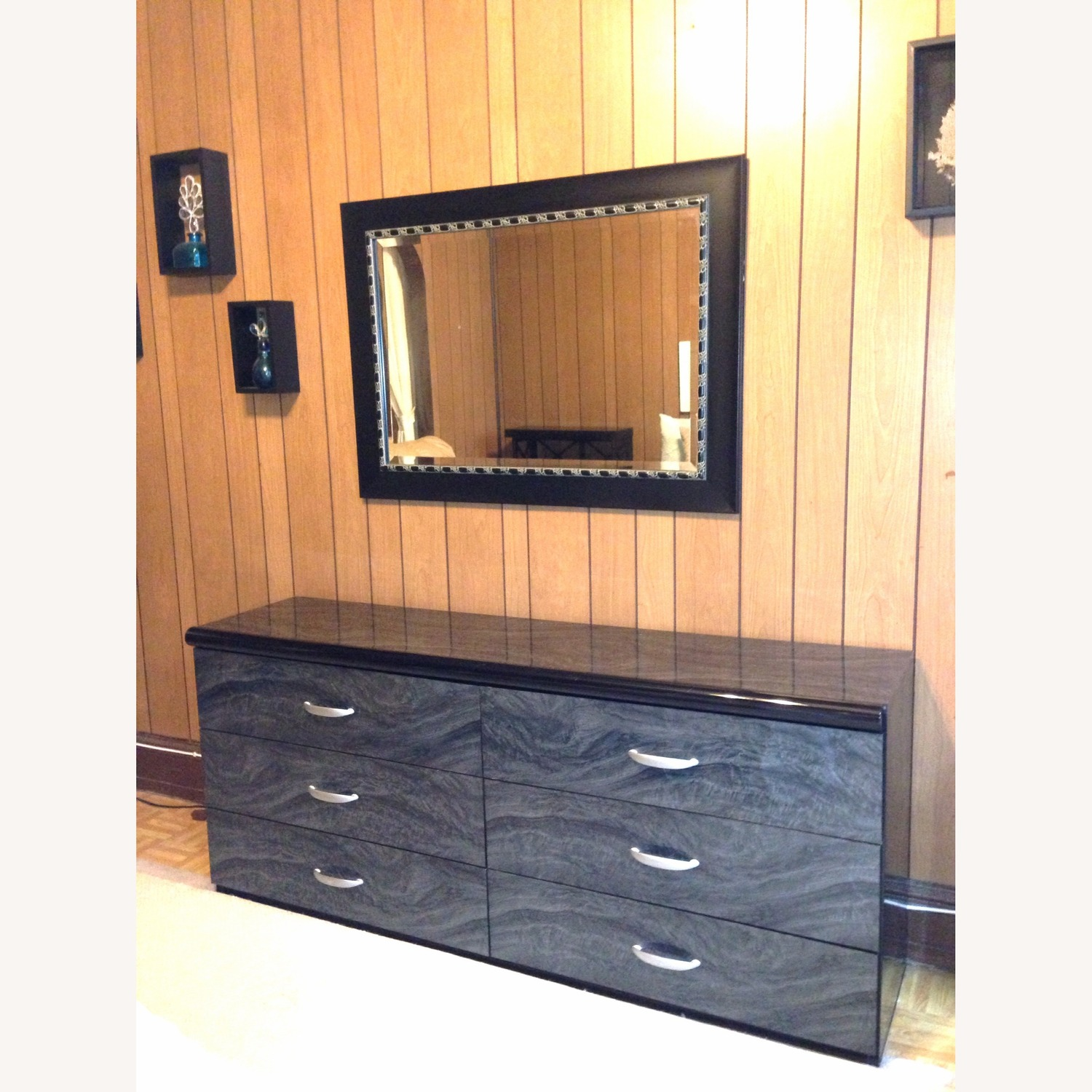 Modern Black Mirror with Silver Accents