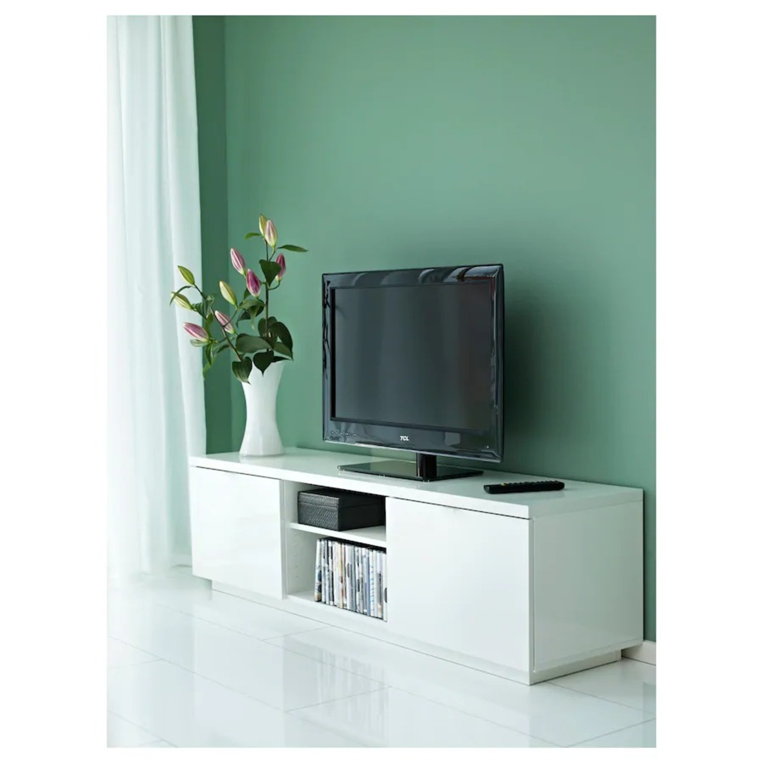 IKEA White TV Stand with Big Storage Space