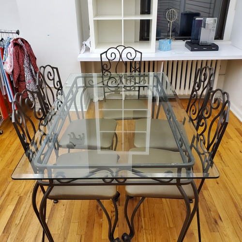 Used Amazing Wrought Iron Dining Set for sale on AptDeco