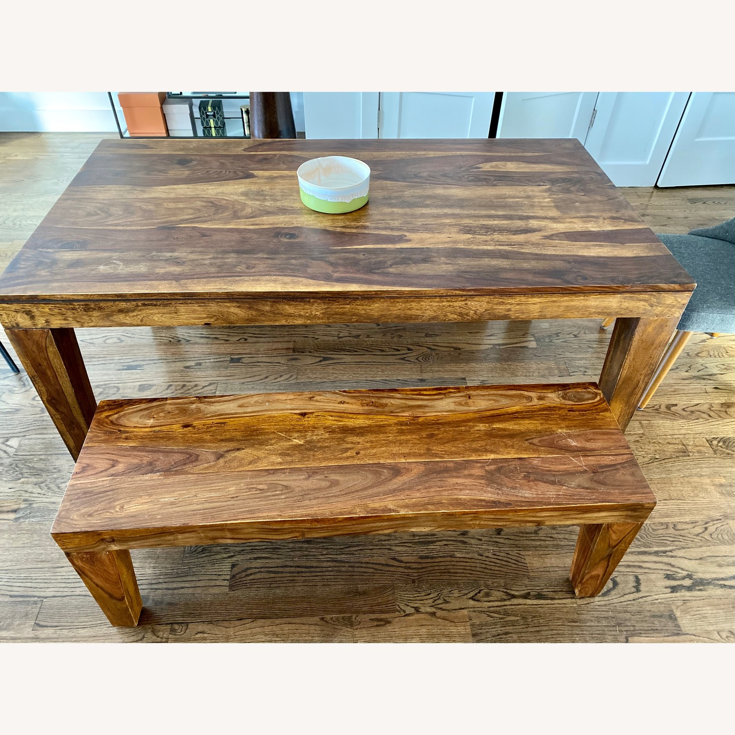West Elm Solid Wood Dining Table & 2 x Benches