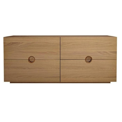 Used CB2 Low Dresser with Brass Circular Pulls for sale on AptDeco