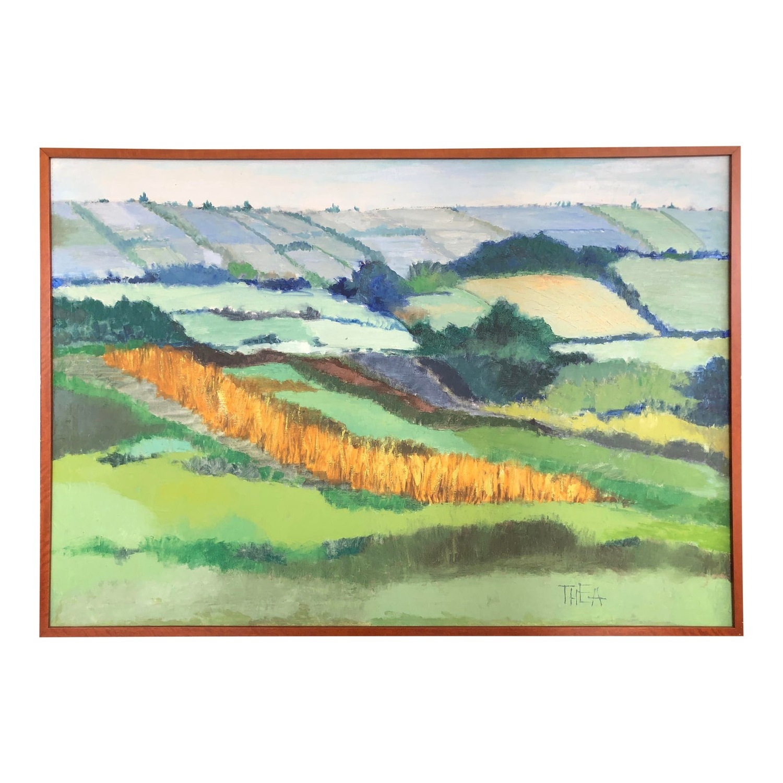 Picture of: Mid Century Landscape Painting Oversized Modern Aptdeco