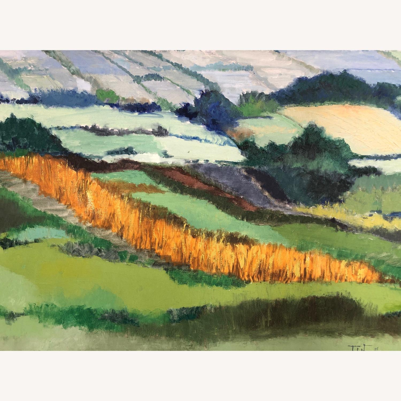 Mid Century Landscape Painting Oversized Modern Aptdeco
