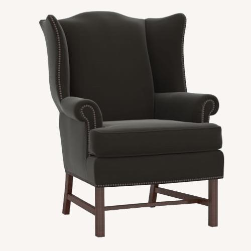 Used Pottery Barn Thatcher Wingback Chair Velvet Smoke for sale on AptDeco