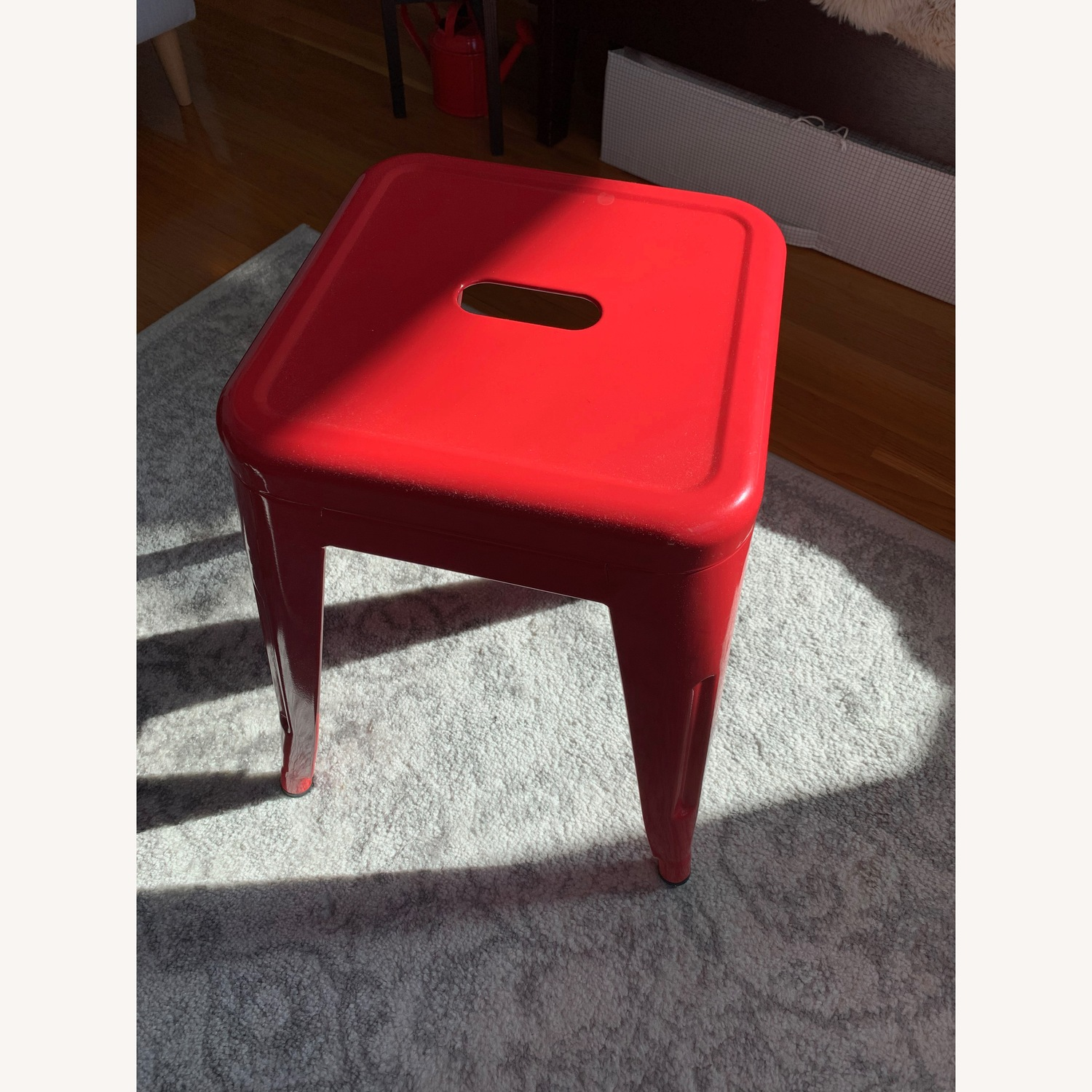 Industrial Red Stool - image-1