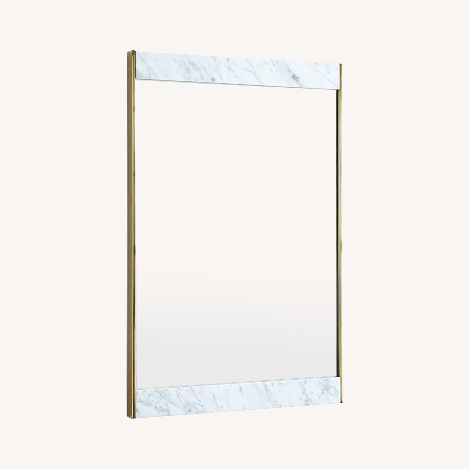 West Elm Marble and Brass Wall Mirror - image-0