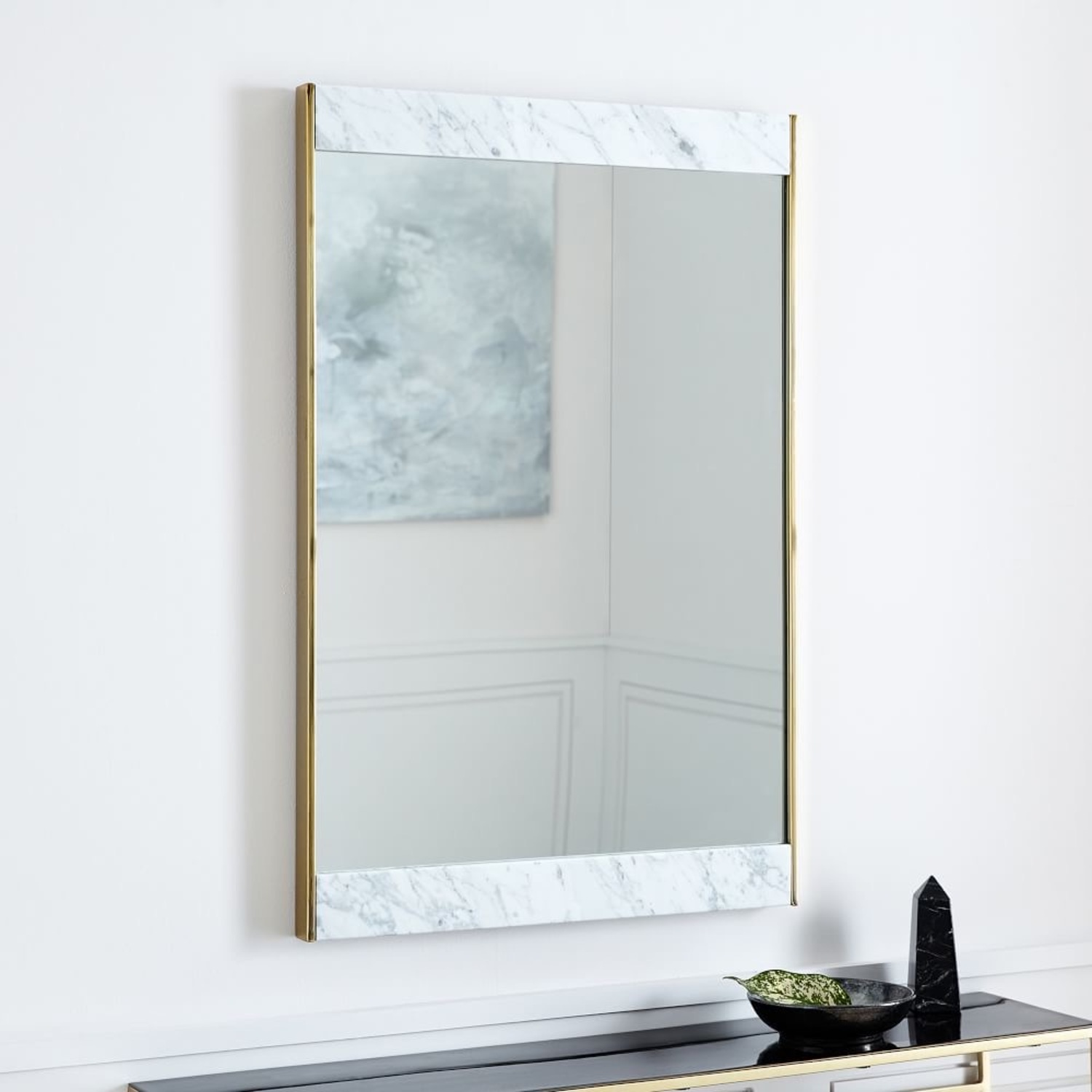 West Elm Marble and Brass Wall Mirror - image-6