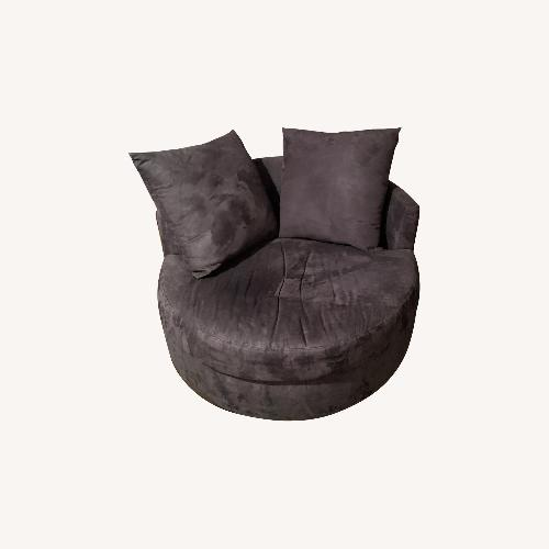 Used Jennifer Convertibles Microsuede Round Swivel Chair for sale on AptDeco