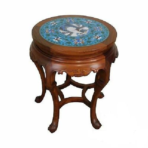 Used Asian Hardwood Cloisonne Side End Plant Table for sale on AptDeco