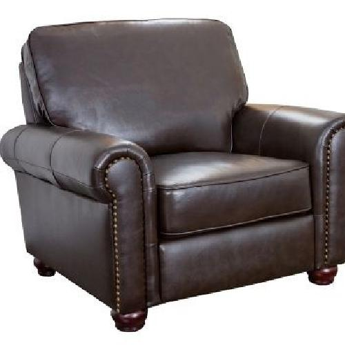Used Raymour & Flanigan Brown Leather Armchair for sale on AptDeco