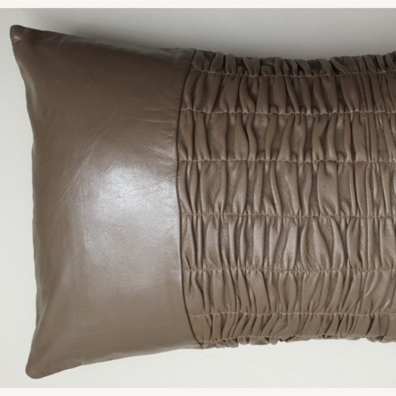 Modern Ruched Leather Pillow - image-2