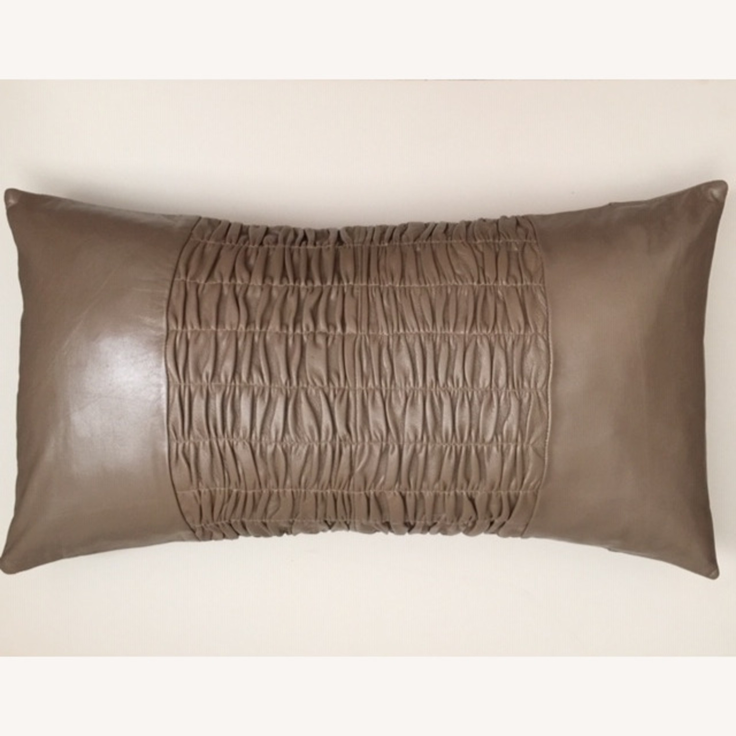 Modern Ruched Leather Pillow - image-1