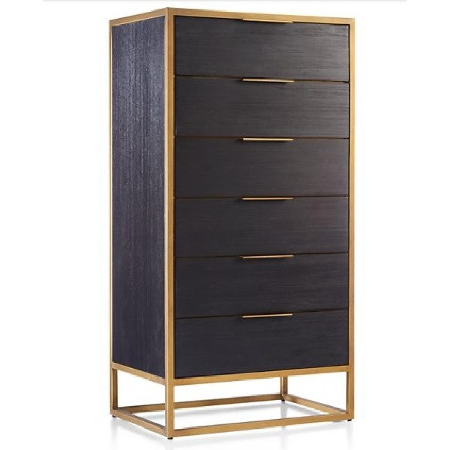 Crate & Barrel Oxford Black 6-Drawer Tall Chest - image-0