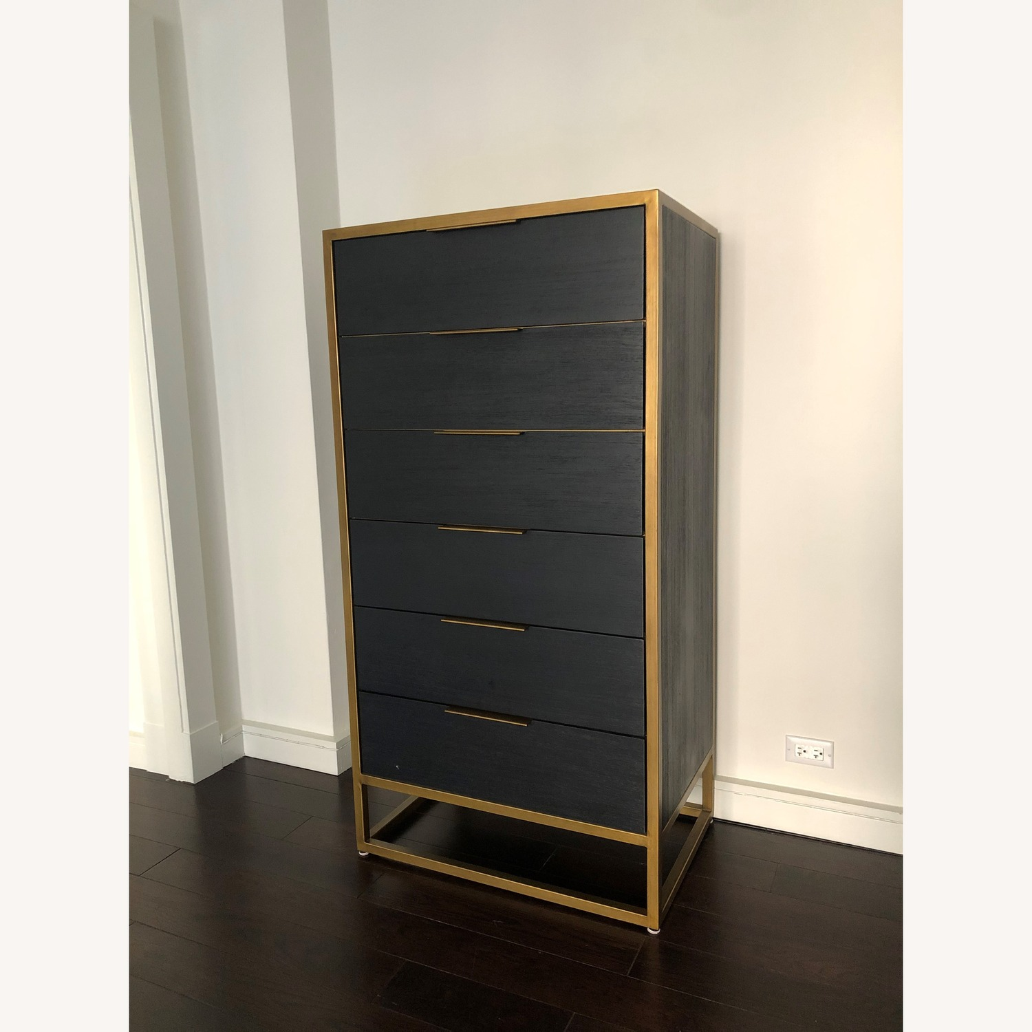 Crate & Barrel Oxford Black 6-Drawer Tall Chest - image-1