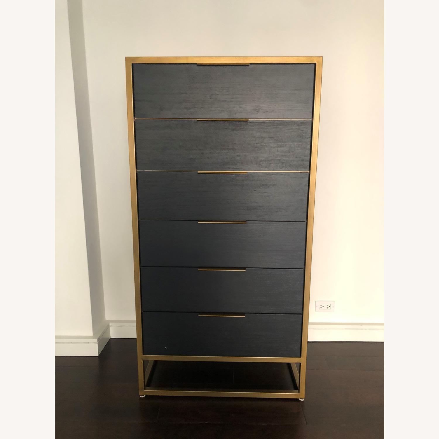 Crate & Barrel Oxford Black 6-Drawer Tall Chest - image-2